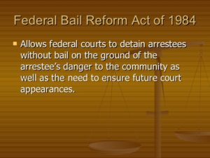 Ohio Bail Bonds Federal Bail Reform Act of 1984